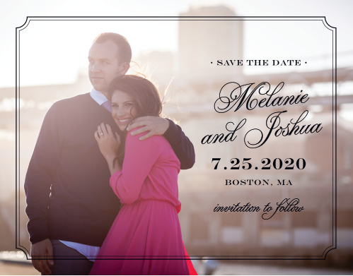 Ensure that your friends and family know when your wedding will be using the Stately Silhouette Save-the-Date Cards.