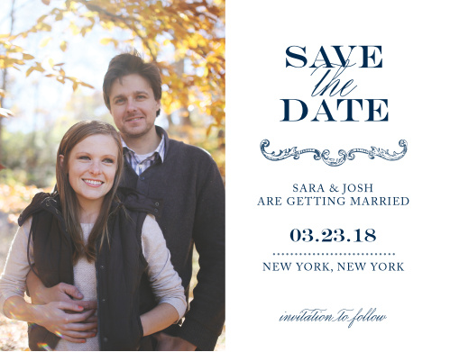 Ornate embellishments and a simple dotted line gives the Victorian Luxe Save-the-Date Cards a sumptuous feel.