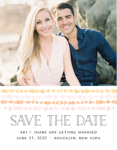 The Brooklyn Loft Save-the-Date Cards are decorated with graphics of watercolored geometric designs in shades of orange, pink, and yellow set below your engagement photo.