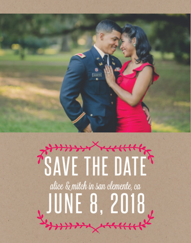 One of your beautiful engagement photos tops our Simply Krafty Save-the-Date Cards, while pomegranate-pink vines frame your wedding information.