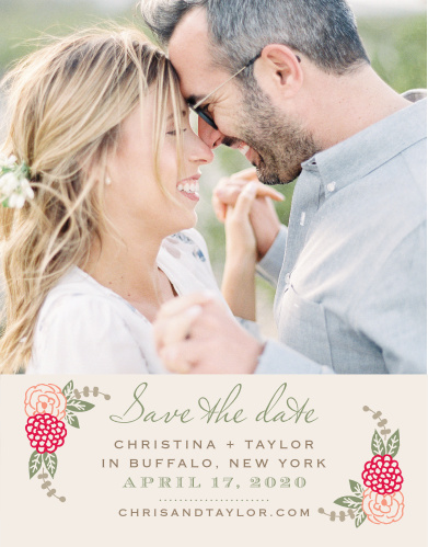 Bunches of charming blooms accent your text on the Floral Chic Save-the-Date Cards.