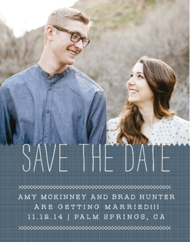 Announce your upcoming wedding with the homespun warmth of the Cross Stitched Save-the-Date Cards from the Love Vs Design Collection at Basic Invite.