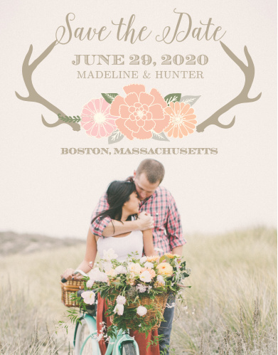 The Blooming Antlers Photo save-the-date cards is part of the Love vs Design collection by Basic Invite.