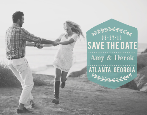 Your favorite engagement photo is the star of this design with the Just Loverly Save-the-Date Card.