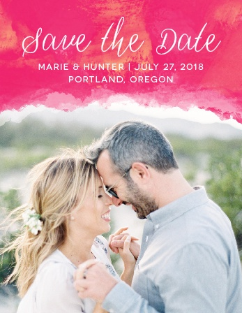 Ensure that your friends and family know when your wedding will be using the Splashy Watercolor Save-the-Date Magnets.