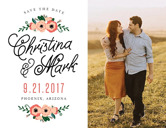 Fall in love with the Botanical Love Save the Date Magnets.