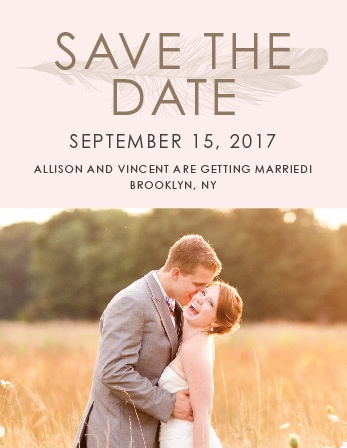 Ensure that your friends and family know when your wedding will be using the Light As A Feather Save-the-Date Magnets.
