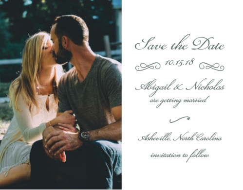 Choose one of your favorite engagement photos to decorate the left-hand side of our Rustic Elegance Save-the-Date Magnets, then detail the specifics of your wedding- your names, wedding date, and wedding location- on the right-hand side in a flowing calligraphy.