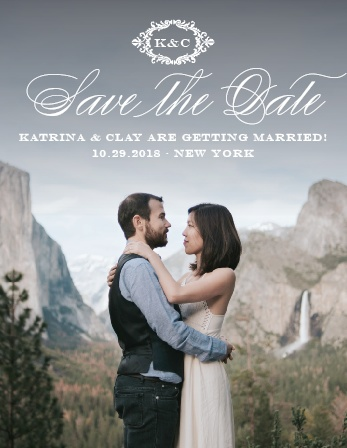 Elegant, swirling calligraphy, a victorian styled emblem, and your gorgeous engagement photo makes the Lace Couture Save-the-Date Magnets an irresistible choice!