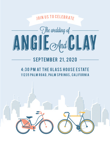 Get away from the hustle and bustle with our beautiful City Life Wedding Invitations.
