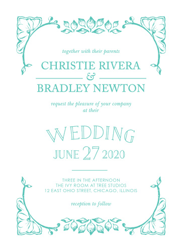 A vintage, leaf adorned crown frames the In the Garden Wedding Invitations in a fantastic deep aqua.