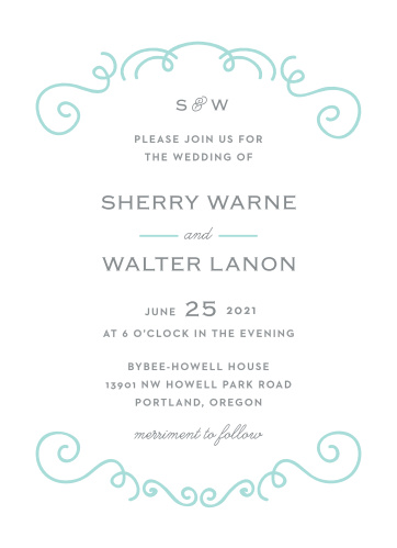 Chic, glass blue, swirling illustrations and a touch of curling calligraphy gives the Classy & Curly Wedding Invitations their flair.