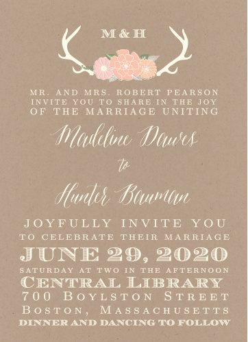 The Blooming Antlers Wedding Invitations is part of the Love vs Design collection by Basic Invite.
