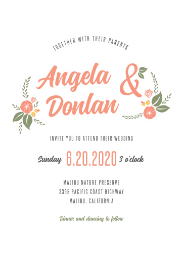 The Floral Charm Wedding Invitations are entirely customizable. Personalize their florals with our palette of more than 180 custom colors. Then preview them with your text instantly online.