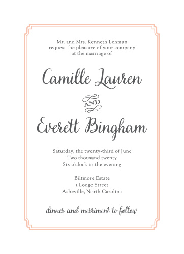 Elegantly framed by peach pink lines and written in a combination of scintillating serif and a simple sans-serif, our Utterly Chic Wedding Invitations are an excellent way to formally announce your wedding.