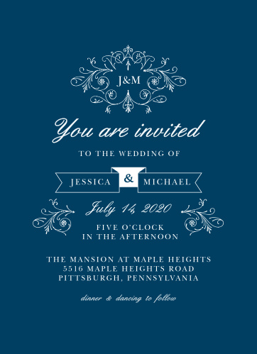 The Sweet Antiquity Wedding Invitations are simple in coloring and ornate in design.