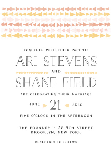 The Brooklyn Loft Wedding Invitations are decorated with graphics of watercolored geometric designs in shades of orange, pink, and yellow.