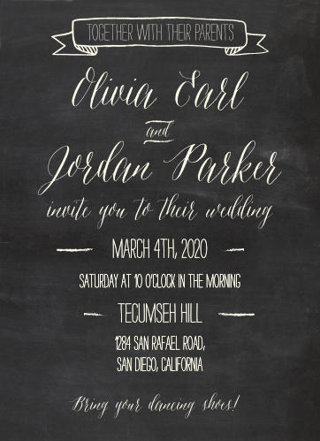 The Chalkboard Lettering Wedding Invitations is part of the Love vs Design collection by Basic Invite.