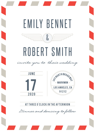 Retro wings and stamp details make the Antique Airmail Save-the-Date Cards a fun way to invite friends and family to your destination wedding.