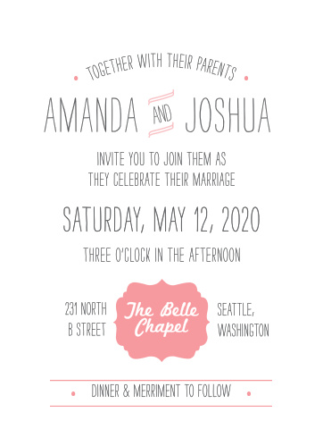 Our Simple Seal Wedding Invitations are your badge of honor: with an ornate symbol, stylishly simple designs spread throughout, and a playfully exuberant typeface in a classic gray, few things can better represent the joy you experience when together.