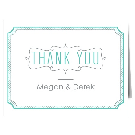 The Blue Skies thank you cards are an elegant folded thank you card with a trendy badge at the top with the couple's names below.