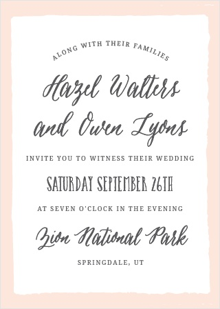 The Painted Border Wedding Invitation sports a quaintly simple yet distinct border. Tons of room to add all of your details, while maintaining a look of class and sophistication.