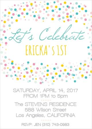 Confetti First Birthday Invitation