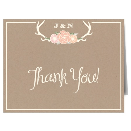 The Blooming Antlers Thank You card is the perfect finishing touch to your wedding experience.