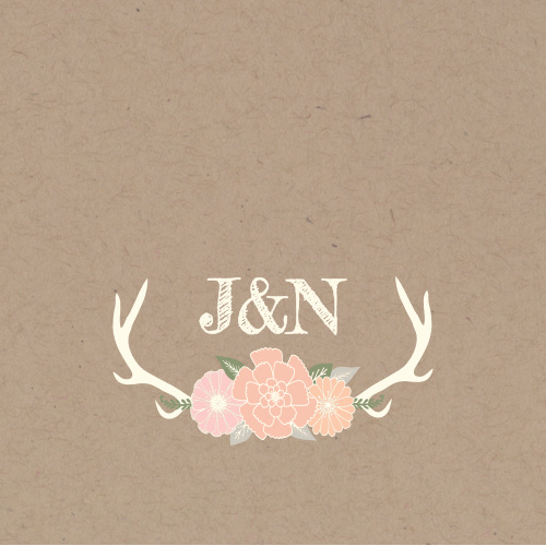 The Blooming Antlers logo square adds the final touch to an already beautiful invitation suite.