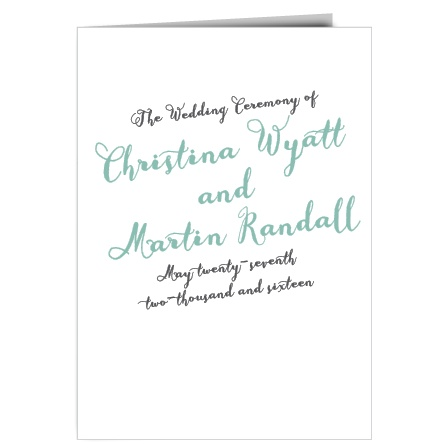 The Float Away wedding program is a perfect fit with the matching wedding invitation set.