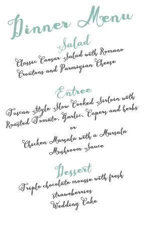 Show off your class with the Float Away wedding menu!