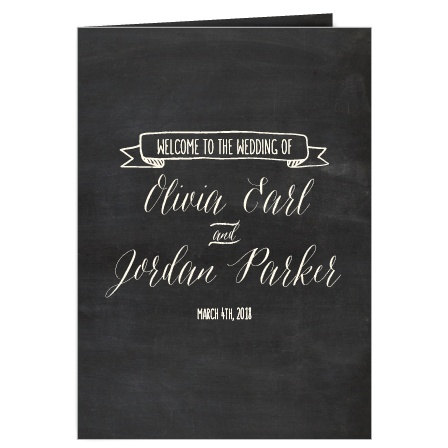 The Chalkboard Lettering wedding program is a beautiful way to outline your wedding, especially when coupled with the matching Chalkboard Lettering invitation suite.