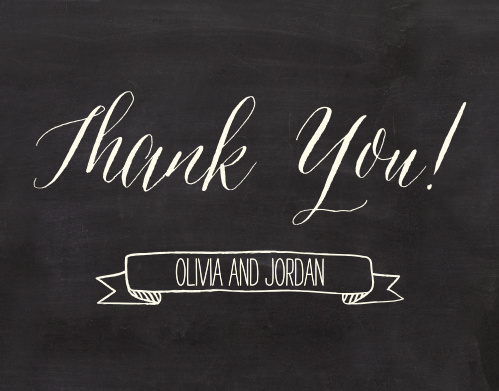 The Chalkboard Lettering Thank You card is the perfect finishing touch to your wedding experience.