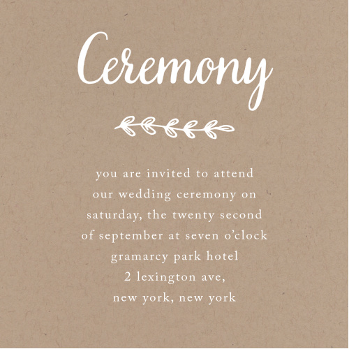 Get all the important people to your wedding ceremony with the Rustic Country ceremony cards from the Love vs. Design collection by Basic Invite!