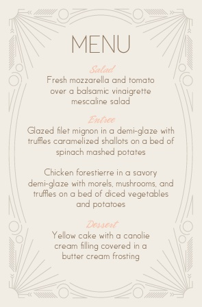 Dinner is served! Let your guests feel as elegant and classy as you as they choose their dinner with the Framed Art Deco Wedding Menu.