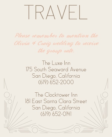 Make things too easy for your guests by providing them with this fully customizable Accommodation card from the Framed Art Deco Invitation Suite.