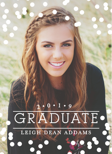 The Confetti Celebration Graduation Announcement puts you at the focus. Choose your favorite photo to announce your big day and change the color of the Polka dots for extra personalization.