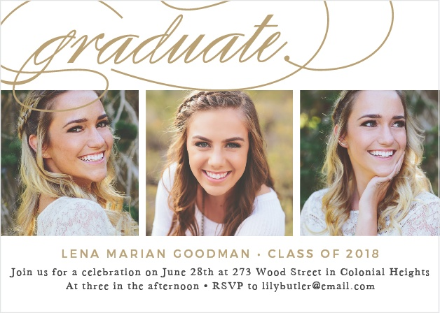 With clean lines and elegant script, the Graceful Grad Graduation Announcement is a refined way to announce your graduation day to friends and family.