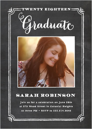 Handmade is the best way to describe the White Chalkboard Graduation Announcement - just like you! Chalk-drawn borders frame your picture, so make sure you use your best one! Customize the text and colors to fit your perfect theme.