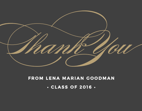 Show your gratitude elegantly with the Graceful Grad Graduation Thank You Cards.