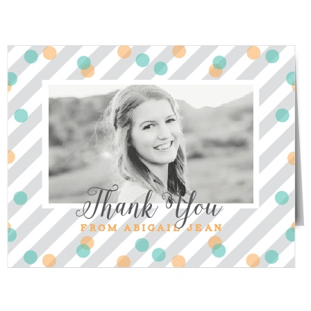 The light and frivolous Jubilation Banner Graduation Announcement is the perfect Thank You card to show off your fun side.
