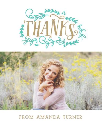 The Vines Graduation Thank You Card makes for a classically chic way to express your thanks to all your loved ones for their support. Choose your favorite photo and customize the text, colors and fonts to fit your elegant style.