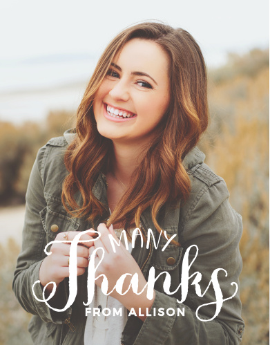 The Hand Lettered Graduation Thank You Card is an understated way to express your thanks to all those who support you and your accomplishments. Fill the card with your photo and customize the text to show off your unique sample.