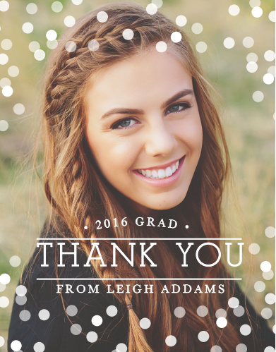 The Confetti Celebration Graduation Thank You card puts you at the focus.