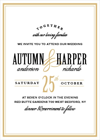 The bold sophistication of the Antique Elegance Invitations announces your wedding with timeless style.