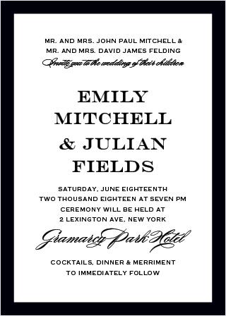 Classic Border Portrait Wedding Invitations