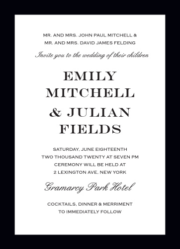The Classic Border Wedding Invitation delivers refined elegance with bold lines and clean spacing.