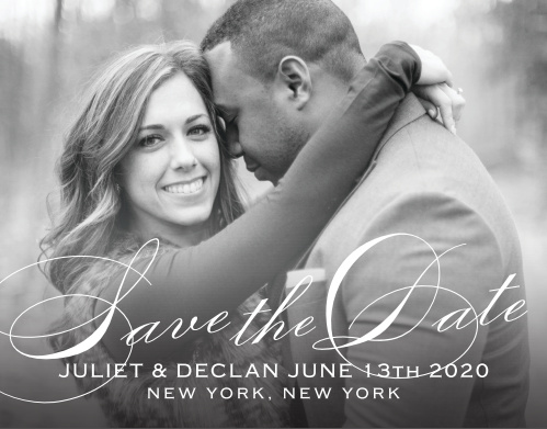 The Classic Script Save The Date is an elegant way to provide your loved ones with all your important information. With its simple and sophisticated text your photo will add the perfect touch to this card.