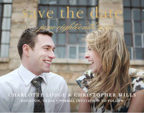 The Sophisticated Typography Save The Date is all about you! With a focal point on your stunning picture and important date! Show off your love by customizing the font, colors and of course your perfect picture.  This card is the elegant way to provide your information.