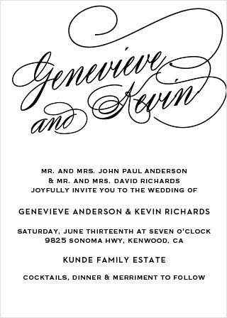 Glamorous Typography Wedding Invitations